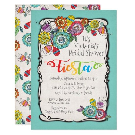 colorful boho floral mexican fiesta bridal shower invitations