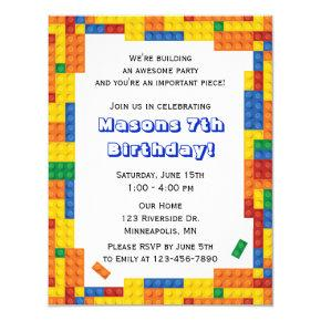 Colorful Bricks Building Blocks Birthday Party Invitation