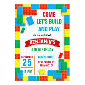 Colorful Bricks Building Blocks Birthday Party Invitation