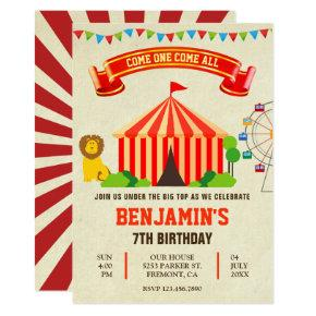 Colorful Carnival Circus Kids Birthday Invitation