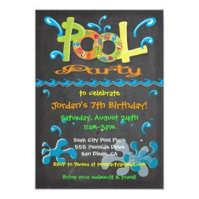 Colorful Chalkboard Pool Party Invitations