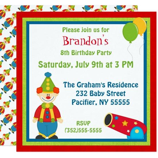 colorful circus clown birthday invitations candied clouds