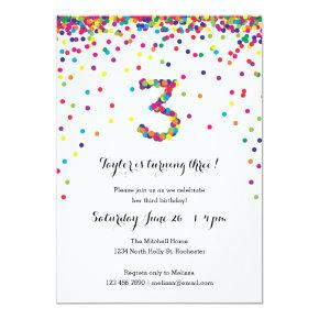 Colorful Confetti 3rd Birthday Party Invitations