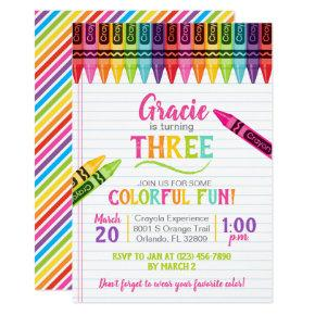 Colorful Crayon Girl Art Party Birthday Invitation