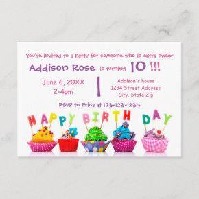 Colorful Cupcake - 3x5 Girl Birthday