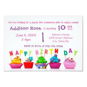 Colorful Cupcake - 3x5 Girl Birthday Card