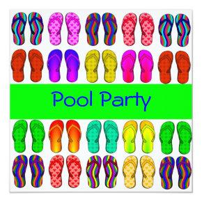 Colorful Flip Flops Pool Party Invitations