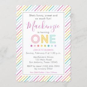 Colorful Fun Stripes First Birthday Invitation