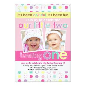 Colorful Fun Twin Girls First Birthday Invitation