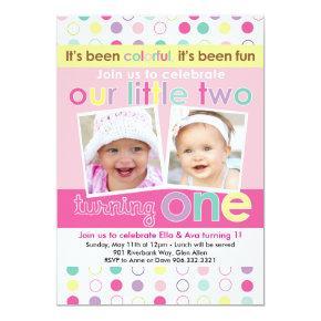 Colorful Fun Twin Girls First Birthday Invitation
