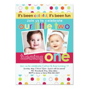 Colorful Fun Twins First Birthday Invitation