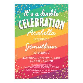 Colorful Joint Twin Birthday Party Invitation