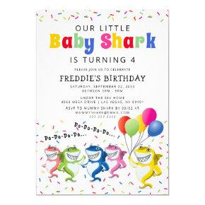 Colorful Kids Baby Shark Birthday Party Invitation