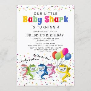 Colorful Kids Shark Birthday Party Invitation