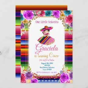 Colorful Mexican Fiesta Birthday Gold Girl  Invitation
