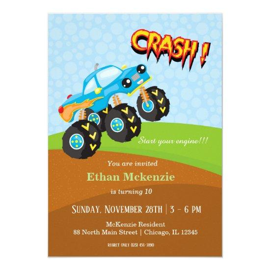 colorful monster truck invitations candied clouds