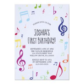 Colorful Musical Note First Birthday Party Invitation