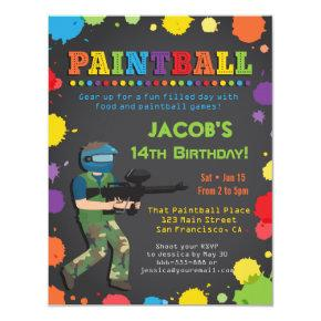 Colorful Paintball Birthday Party Invitations