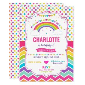 Colorful Rainbow Birthday Party Girl Invitation