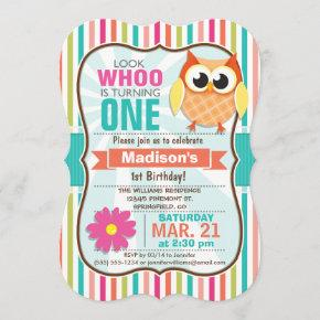Colorful Stripes Owl Birthday Party Invitation
