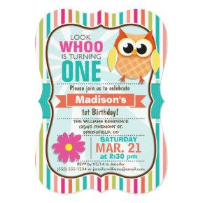 Colorful Stripes Owl Birthday Party Invitations