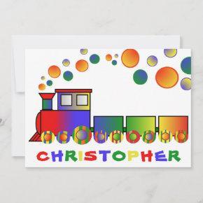 Colorful Train Personalized Birthday Party Invitation