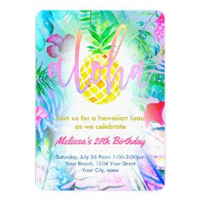 colorful tropical birthday party card