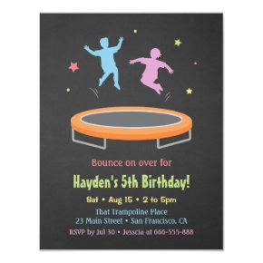 Colourful Bounce Trampoline Kids Birthday Party Invitations