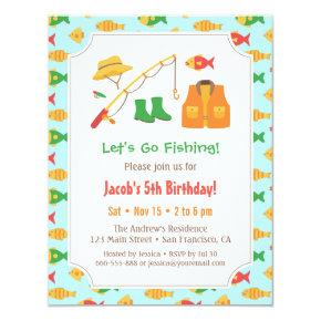 Colourful Go Fishing Birthday Party Invitations