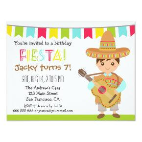 Colourful Mexican Fiesta Kids Birthday Party Invitations