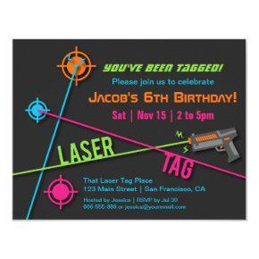 Colourful Neon Boys Laser Tag Birthday Party Invitation