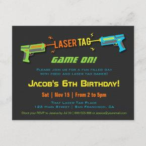 Colourful Neon Laser Tag Birthday Party Invitation