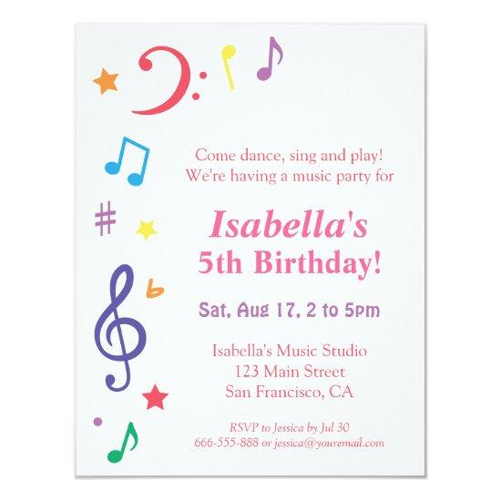 Colourful rainbow music themed birthday party invitations candied colourful rainbow music themed birthday party invitations filmwisefo
