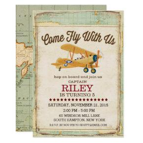 Come Fly Birthday Airplane Travel Invitation