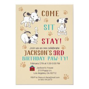 Come, Sit, Stay - Boys Dog Birthday Party Invite
