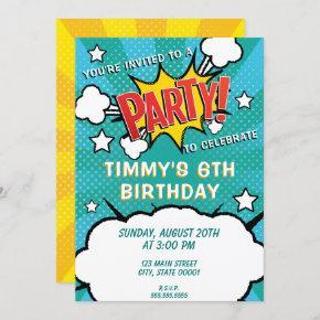 Comic Book PARTY! Invitation