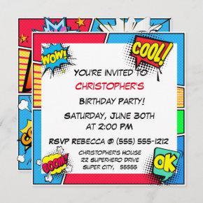 Comic Book Superhero Birthday Boy Custom Invitation