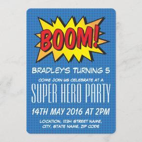 Comic Super Hero Blue Personalized Kids Birthday Invitation