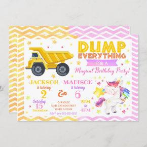 Construction and Unicorn Joint Birthday Invitation