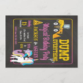 Construction and Unicorn Joint Birthday Invitation
