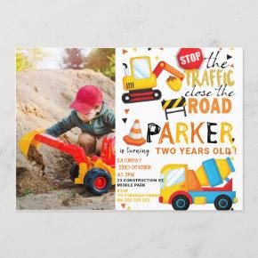Construction Birthday Cute Photo Invitation