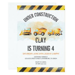 Construction Birthday Dump Truck Birthday Invitation