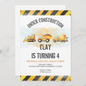 Construction Birthday Dump Truck Birthday Invitation