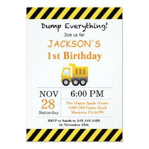 Construction Birthday Dump Truck Invitation