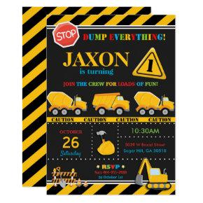 Construction Birthday Invitation Boy