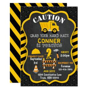 Construction Birthday Invitations | Dump Truck