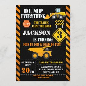 Construction birthday invitation Dump truck invite