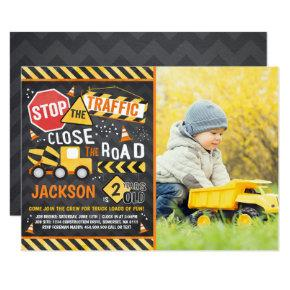 Construction Birthday Invitations Dump Truck Party