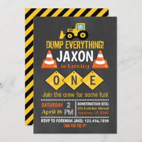 Construction BIrthday Invitation for Boy