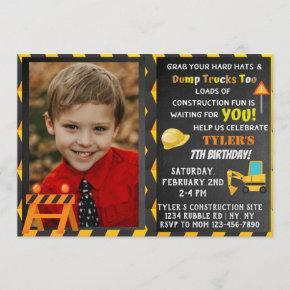 Construction Birthday Party Photo Invitation